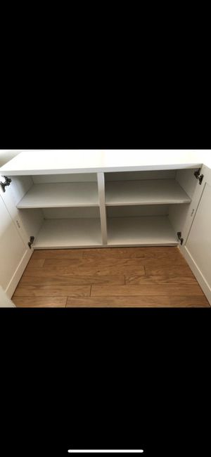 SHELF UNIT WITH DOORS WHITE WOODEN CHEST DRESSER CABINET for Sale in Washington, DC