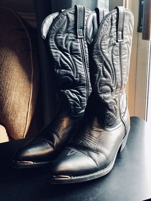 Cowboy Boots, Mens 9.5, Black Leather for Sale in Leesburg, VA