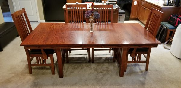 Shin Lee Solid Oak Mission Style Dining Set For Sale In Olympia Wa Offerup