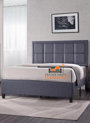 Brand New King Size Grey Linen Upholstered Platform Bed Frame ONLY for Sale in Silver Spring, MD