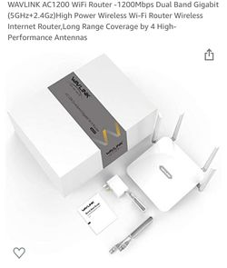 WAVLINK AC1200 WiFi Router -1200Mbps Dual Band Gigabit (5GHz+2.4Gz)High Power Wireless Wi-Fi Router Wireless Internet Router,Long Range Coverage by 4  Thumbnail