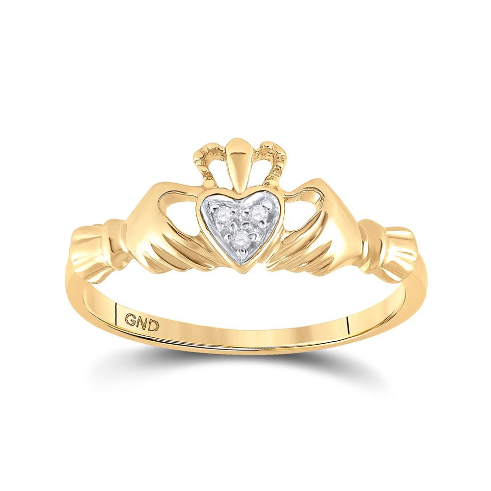 Saris and Things 14kt Yellow Gold Womens Round Diamond Claddagh Heart Ring .02 Cttw