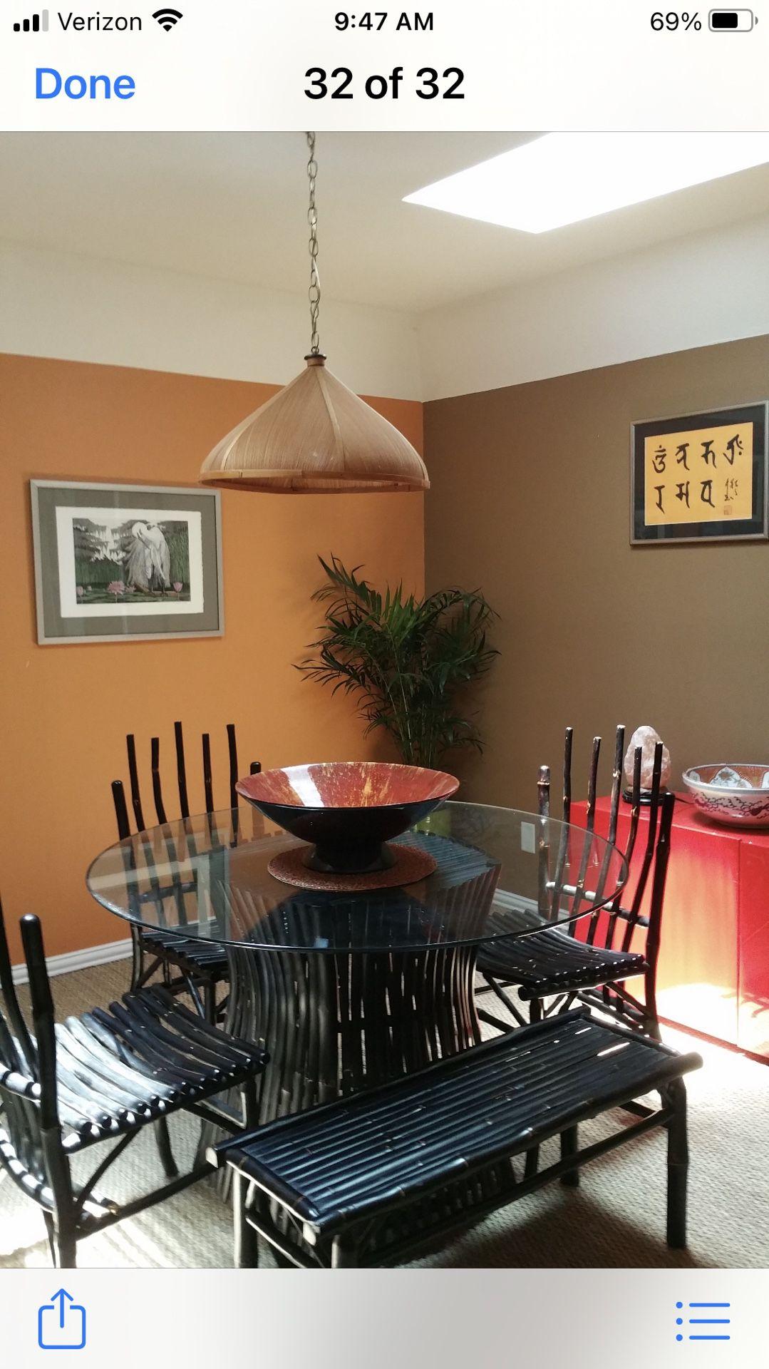 Black Bamboo /Glass Dining Set