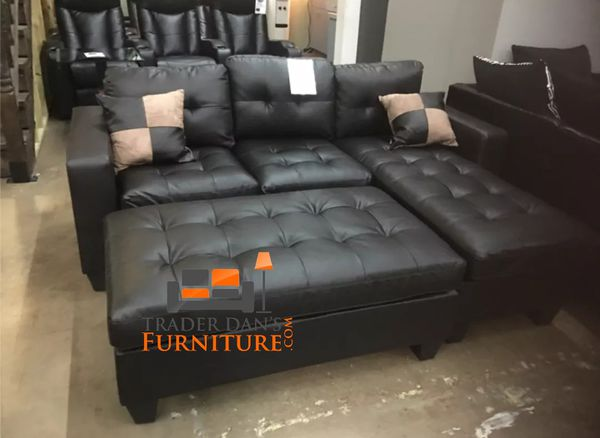 Brand New Espresso Bonded Leather Sectional Sofa Couch +Ottoman for ...
