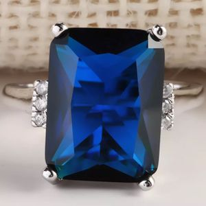 925 sterling silver plated blue sapphire wedding engagement casual ring women's jewelry accessory Christmas gift for Sale in Silver Spring, MD