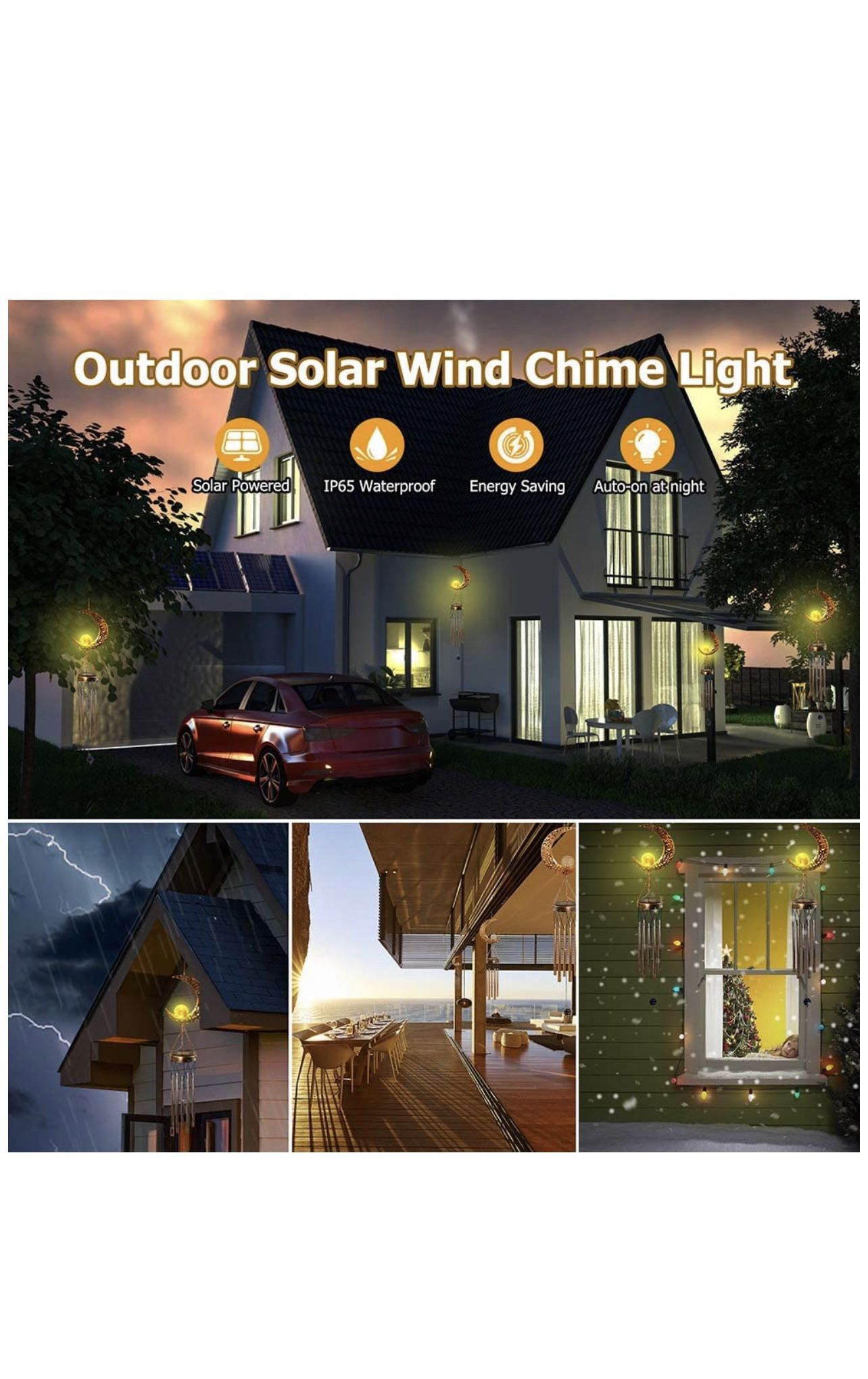Solar Wind Chimes for Outside, Memorial Wind Chimes with Moon Crackle Glass Ball Warm LED Light, Sympathy Wind Chimes with Metal Tubes Waterproof Uniq