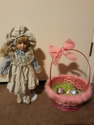 Antique doll with stand and pink Easter basket for Sale in Bremerton, WA