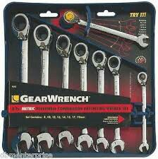 Gear wrench 8 pc. Metric reversible combination ratcheting wrench set for Sale in Durham, NC