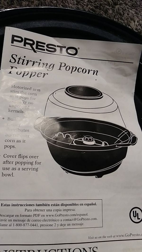 Presto Electric Popcorn Maker With Instruction Book For Sale In