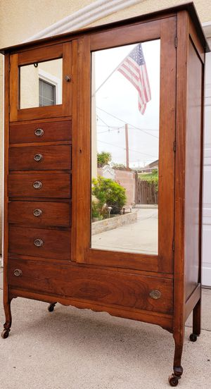 Photo Beautiful SOLID WOOD 6 Drawer Drawers Chest + Double Mirrored Door Closet + Storage Wardrobe Armoire Clothes Organizer Stand Unit + 4 Wheels INCLUDED