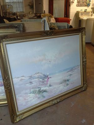 Large 50 x 40 gilded wood frame-stretched canvas oil painting $ 95 or best offer for Sale in Apopka, FL