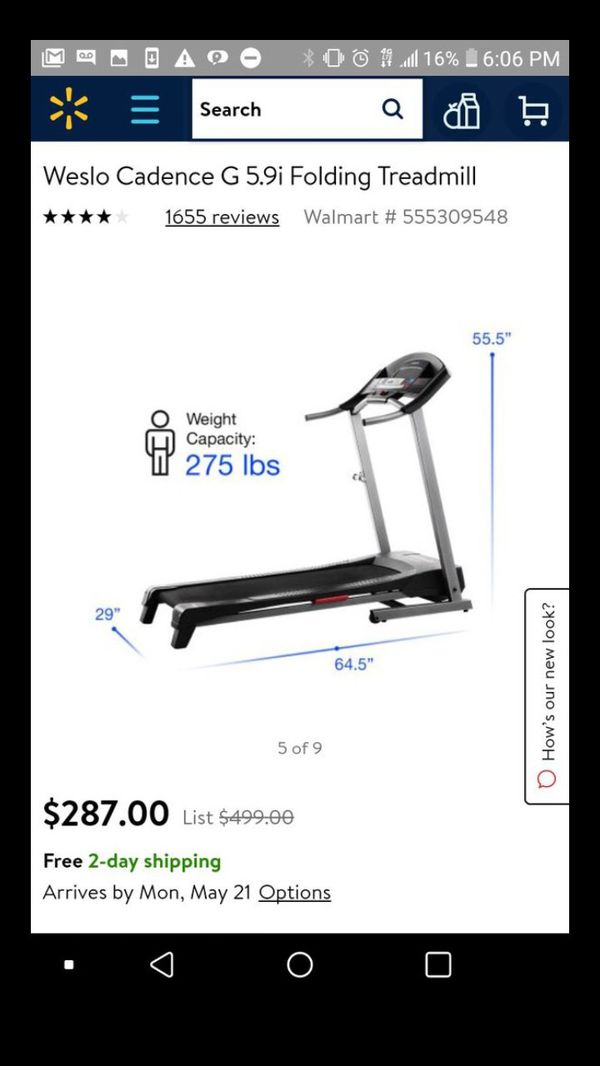 Weslo Cadence G 59 Gym Exercise Workout Treadmill Machine For Sale In Downey CA