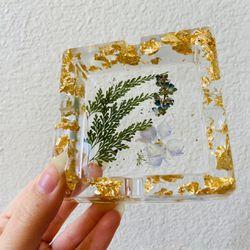 Handmade Pressed Flowers Nature Lilac Gold Resin Ashtray Decor Art Mold Thumbnail