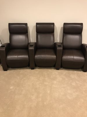 Arhaus leather theater chairs — like new for Sale in Arlington, VA