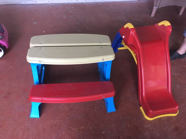 Kids plastic picnic table and kids plastic slide for sale in boynton kids plastic picnic table and kids plastic slide for sale in boynton beach fl offerup watchthetrailerfo