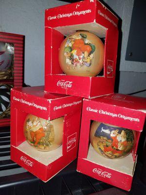3 Vintage Coca Cola Collectible Ornaments for Sale in Tampa, FL