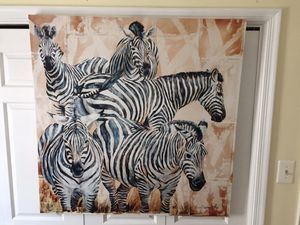 Beautiful Large Canvas Wall Art of Zebras for Sale in Chantilly, VA