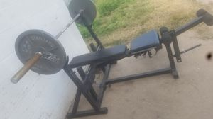 BENCH AND OLYMPIC BAR AND WEIGHTS for Sale in Phoenix, AZ
