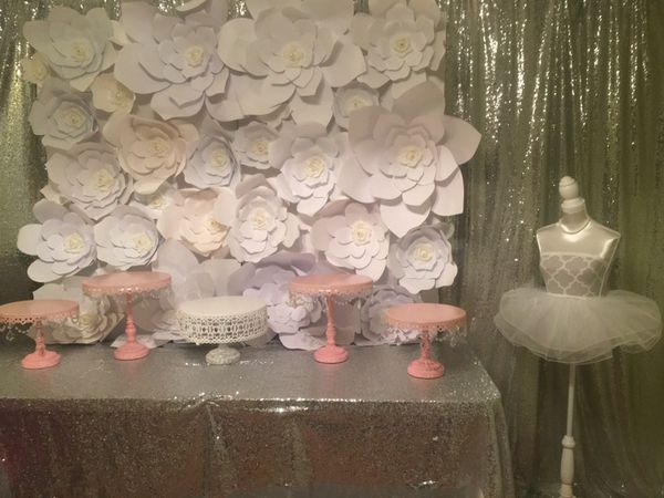 Paper Flower Backdrop Silver Sequin Backdrop Not For Sale For
