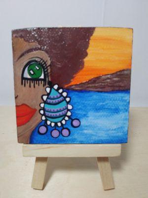 Woman's gaze, Mini Painting of a Beautiful Woman, Mini Art for Sale in Lakeland, FL