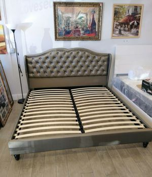Brand New King Size Silver Leather Platform Bed for Sale in Silver Spring, MD