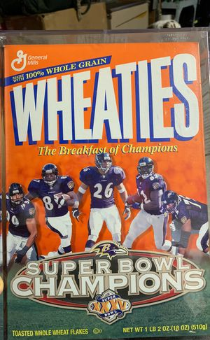 Baltimore Ravens Super Bowl XXXV Wheaties box Mint Condition (in protective box) for Sale in Westminster, MD