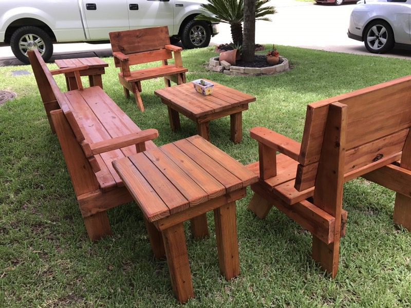 Picnic tables and outdoor furniture