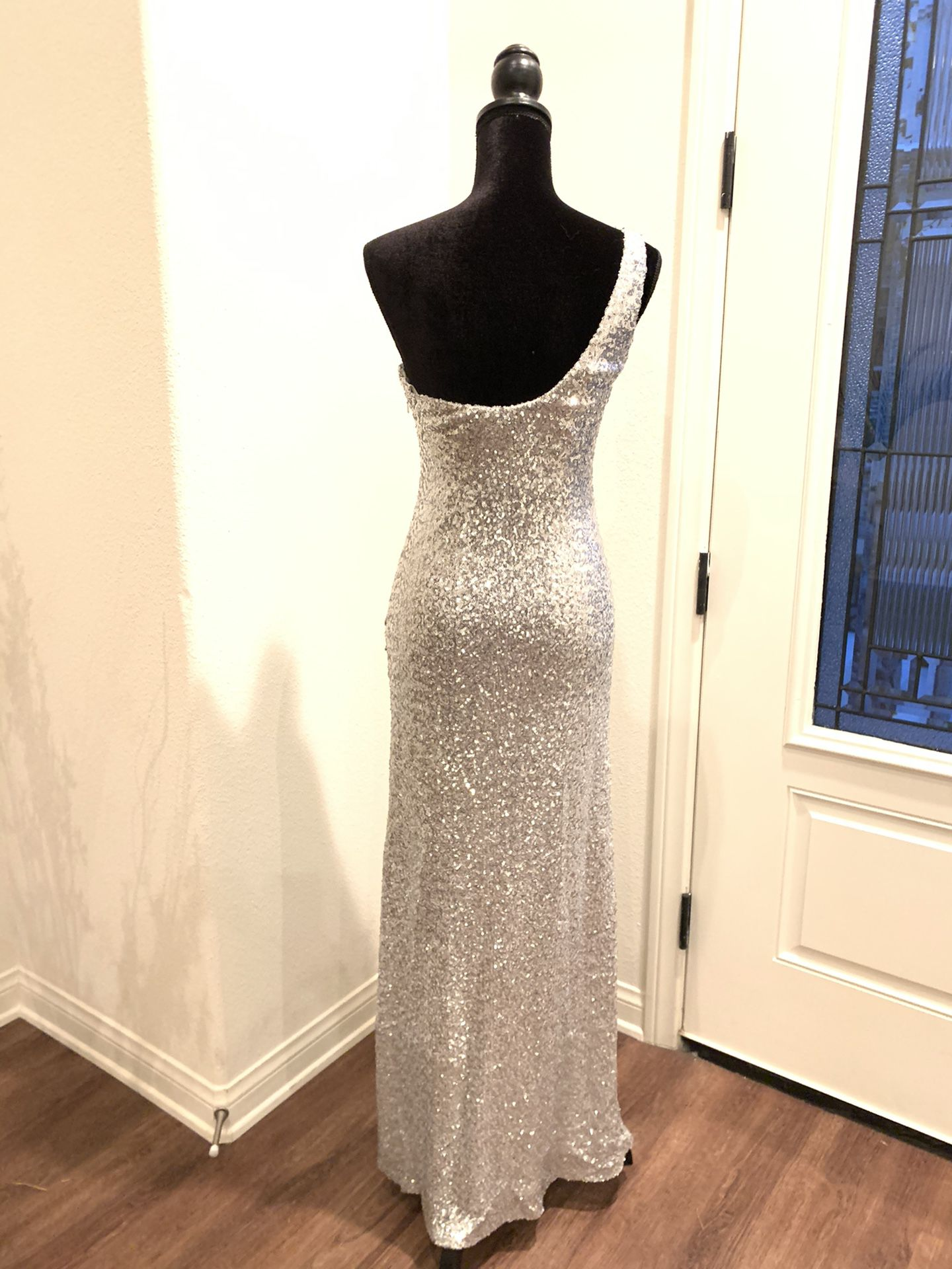 La Femme Maxi, One Shoulder, Silver and Teal Dress