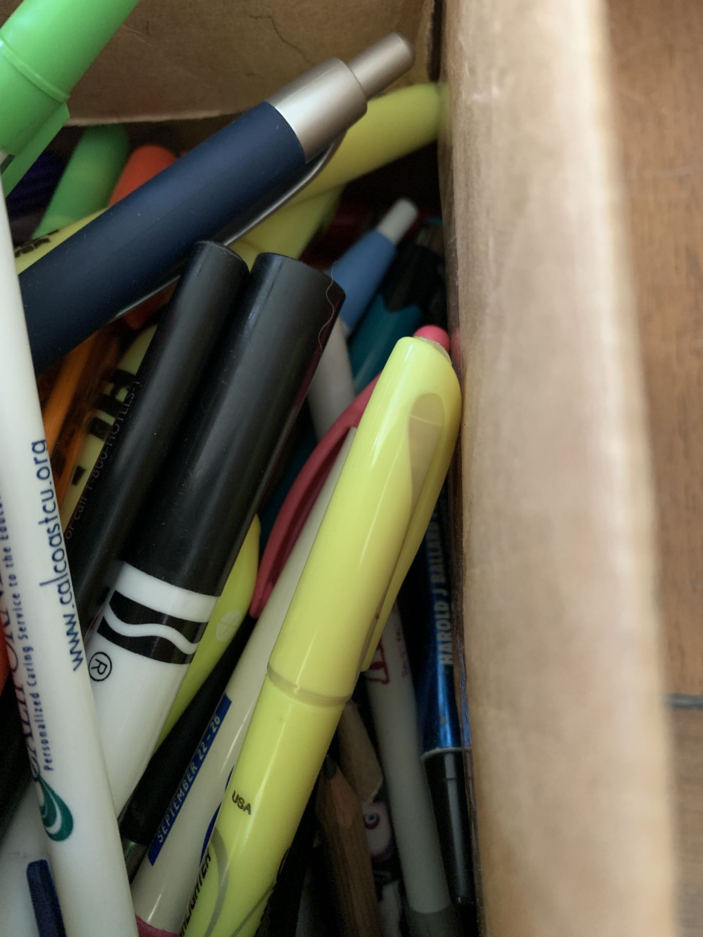 Box Of Pens And Pencils And Markers