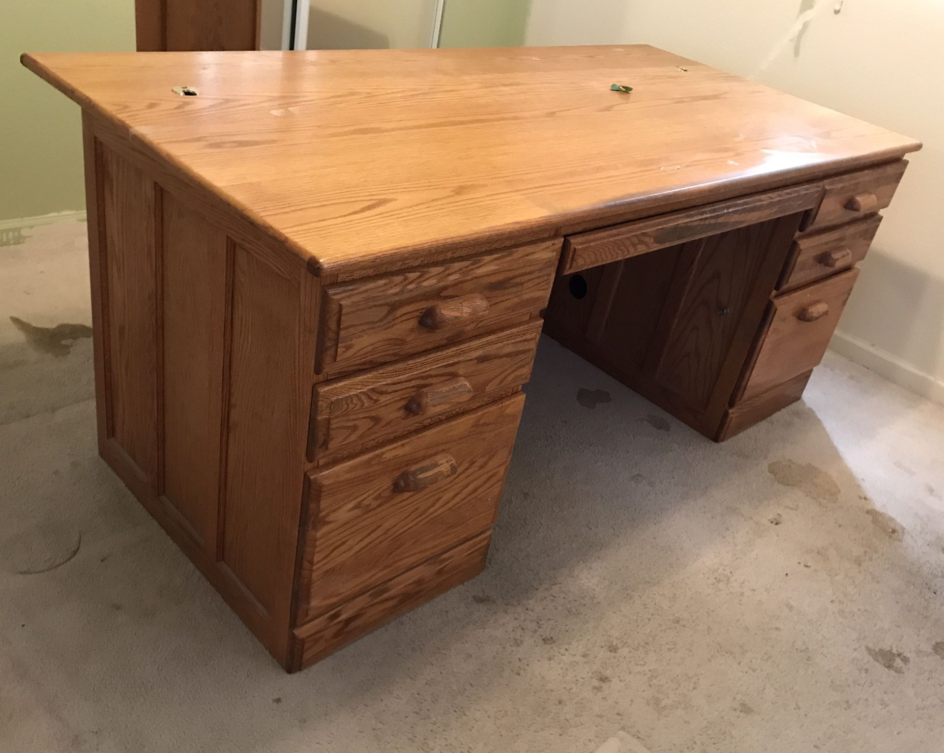 Executive desk with built in file drawers