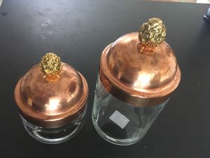 Ruffoni MADE IN ITALY Set of 2 Copper Artichoke Finial Lid Canister Jars for Sale in Seattle, WA