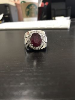 14k solid gold mens natural diamond and ruby ring Thumbnail