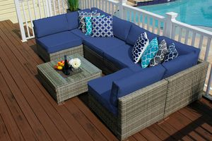 NEW Outdoor Patio Furniture 7 Piece Sectional Sofa Set with Cushions for Sale in Miami, FL