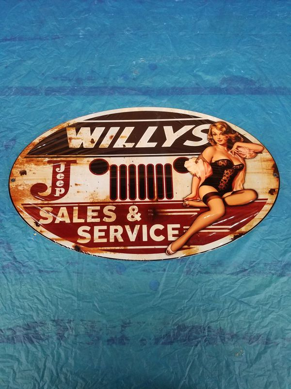Car Dealerships Vancouver Wa >> Willys jeep sales service pinup pin up girl steel metal ...