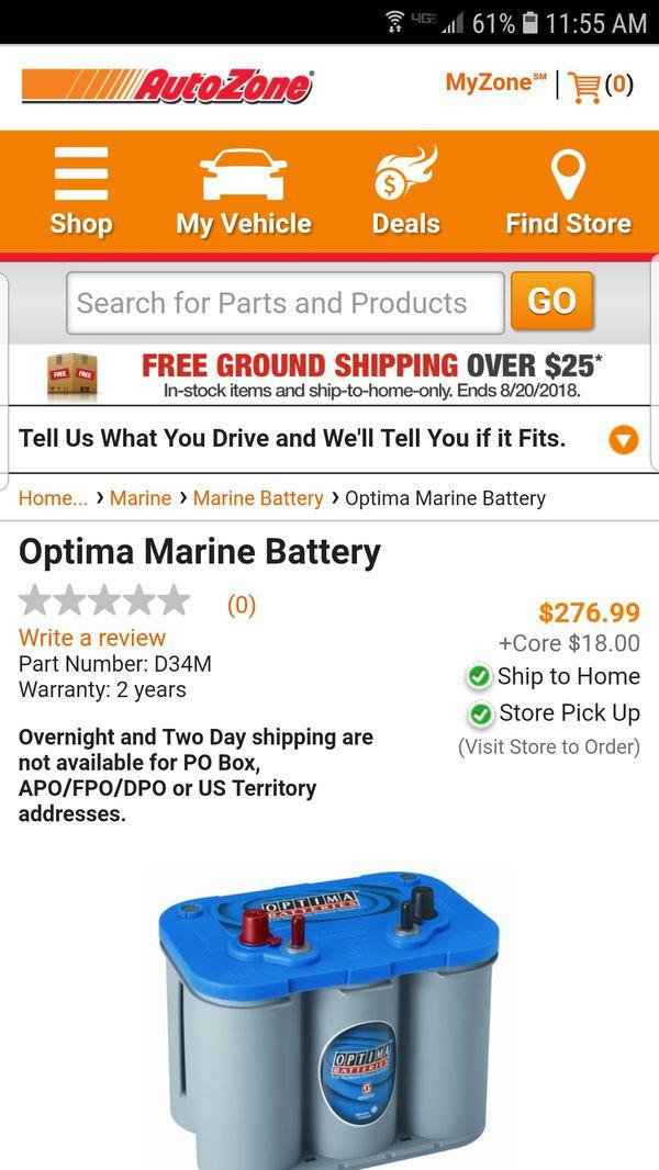 New Optima Bluetop Marine Gel Battery With 9 18 Date Code Sticker