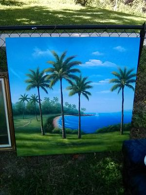 4x4 ft Palm trees oil painting on canvas for Sale in Washington, DC