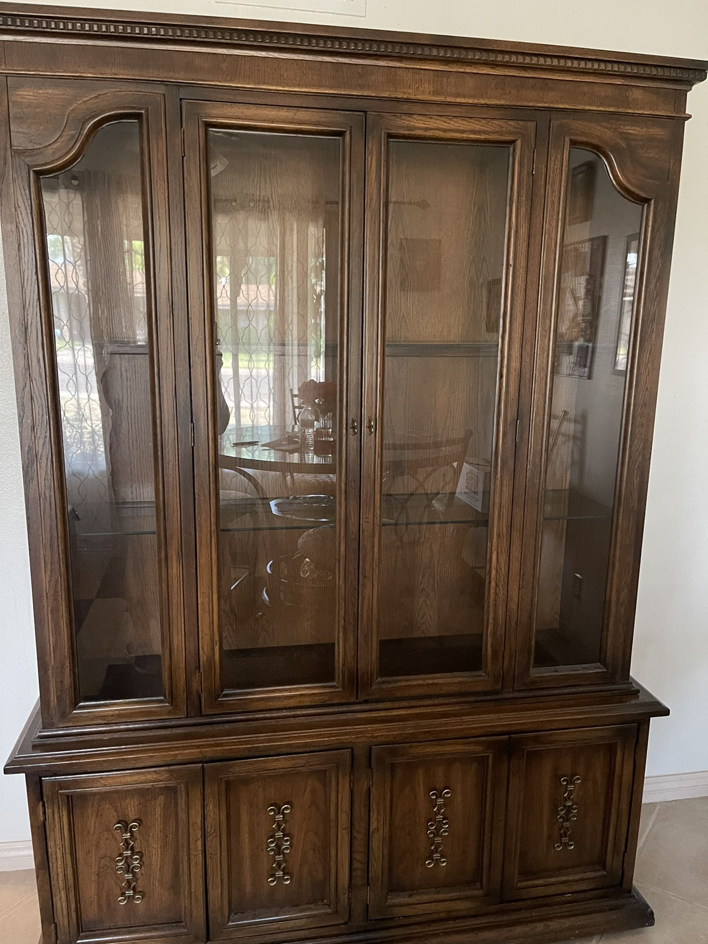 China Cabinet  Dark Brown Good Condition 2 Piece $125  OBO 57X77 In.