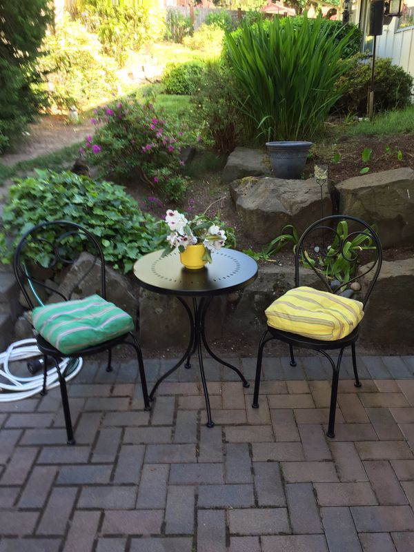 Black Patio Set Covers: Black Iron Outside Patio Set. Table And 2 Chairs. For Sale