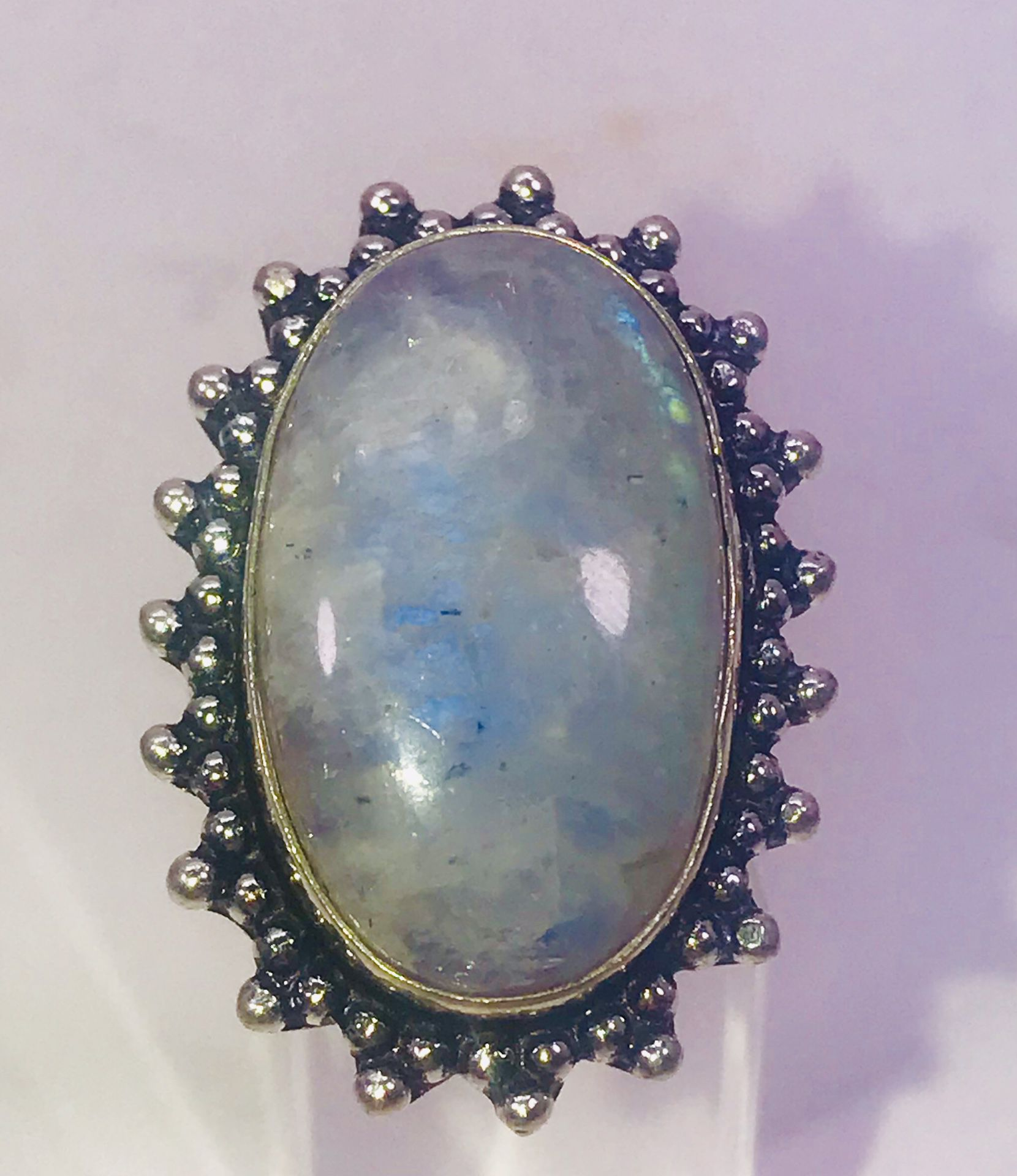 Natural fiery blue rainbow 🌈 moonstone large oval stone & .925 stamped sterling silver embellished ring size 7 NEW!