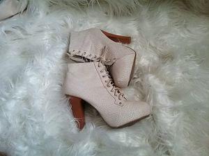 Charlotte Russe Lace Up Cream Beige Booties for Sale in Reno, NV