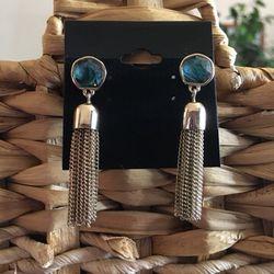 Vintage faux abalone gold chain tassel earrings Thumbnail