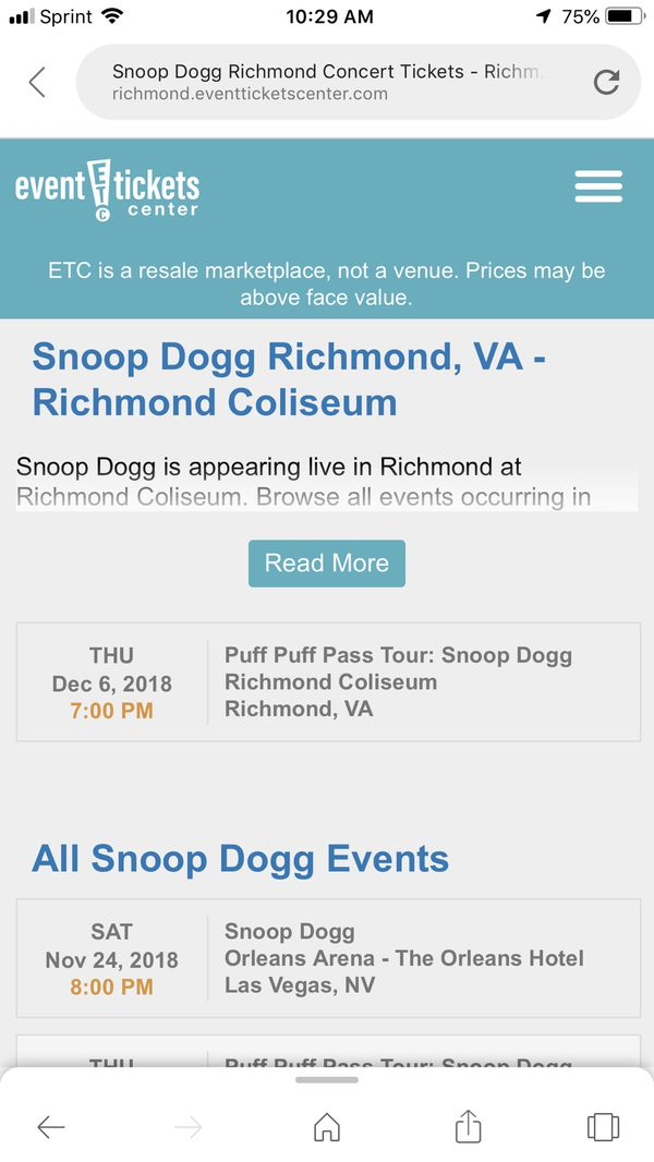 2 Snoop Dogg Tickets For Sale Flr 1 Row E Seats 1314 For Sale In