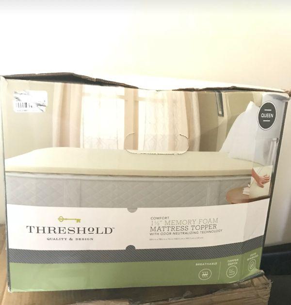 "threshold memory foam mattress topper Threshold Queen Size 1 1/2"" Thick Memory Foam Mattress Topper for  threshold memory foam mattress topper"