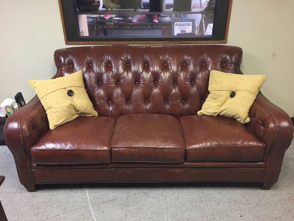Superb Spectacular High Back 3 Seat Leather Sofa For Sale In Deer Creativecarmelina Interior Chair Design Creativecarmelinacom