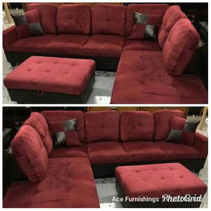 Brand New Red Microfiber Sectional With Storage Ottoman & Tax Free for Sale in Federal Way, WA
