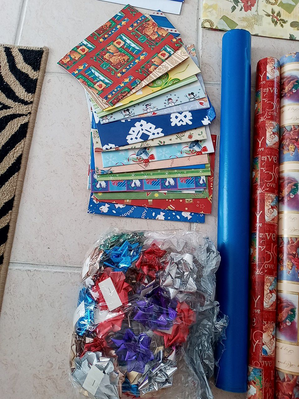 Christmas supplies - paper, stationary, boxes, bows