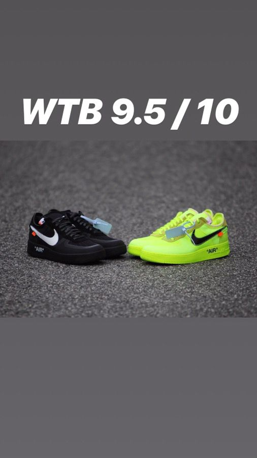 d78a88c1a7eeb WTB Off White Nike Air Force 1 Black and Volt 9.5 10 for Sale in ...
