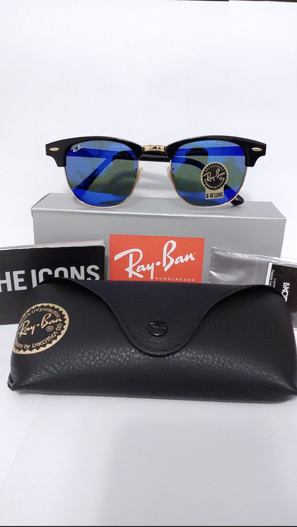 9425be476b Ray Ban 3016 51mm Clubmaster Sunglasses Black Gold Frame Blue Mirror Lens