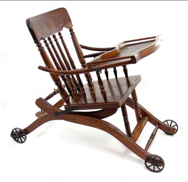 1920s Vintage Victorian Convertible Oak High Chair Stroller - Dutchess High  Back Design (Antiques) in Spring Hill, TN - OfferUp - 1920s Vintage Victorian Convertible Oak High Chair Stroller