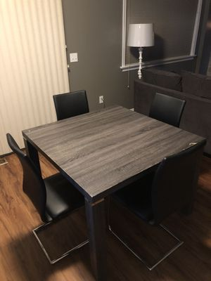 Gray Dining Room Table With 4 Black Chairs Must Pickup For Sale In Lancaster